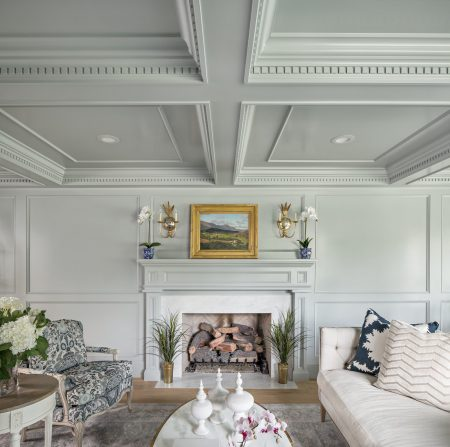 elegant formal living room with gray walls and a gold accent