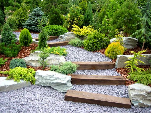 japanese style landscape with stained cedar steps on a pebbled slope
