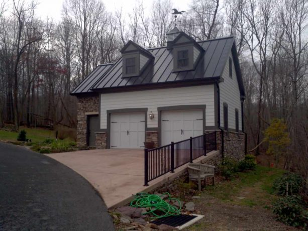 two-car garage apartment with hardie plank siding and standing seam metal roof