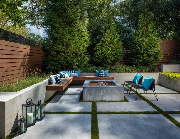 a stylish patio design with concrete paver and fire pit plus a floating bench
